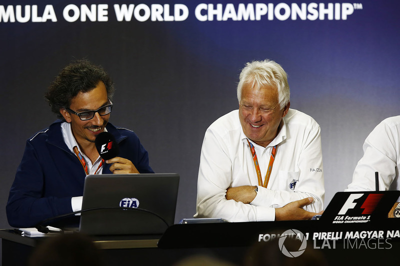 Laurent Mekies, F1 Deputy Race Director, FIA, Charlie Whiting, FIA Race Director and Matteo Bonciani, Head of FIA Communications and Media Delegate, host a press conference about the introduction of the halo