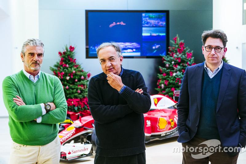 Maurizio Arrivabene, director del equipo Ferrari, Sergio Marchionne, Presidente y CEO de Ferrari Fia