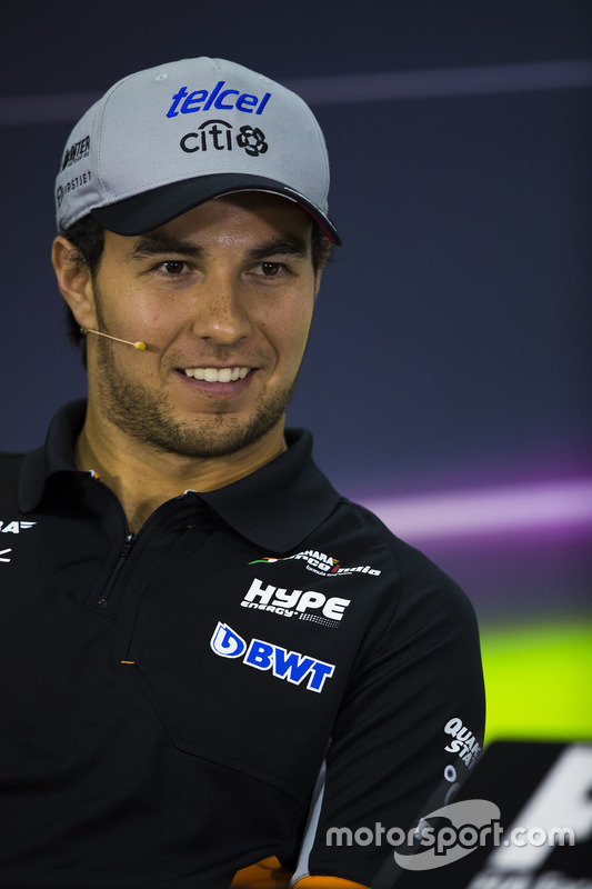 Sergio Perez, Force India, in the press conference