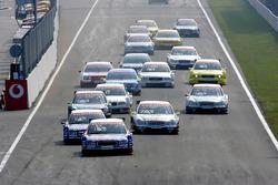 Start action, Mattias Ekstrom, Abt Sportsline Audi A4 leads