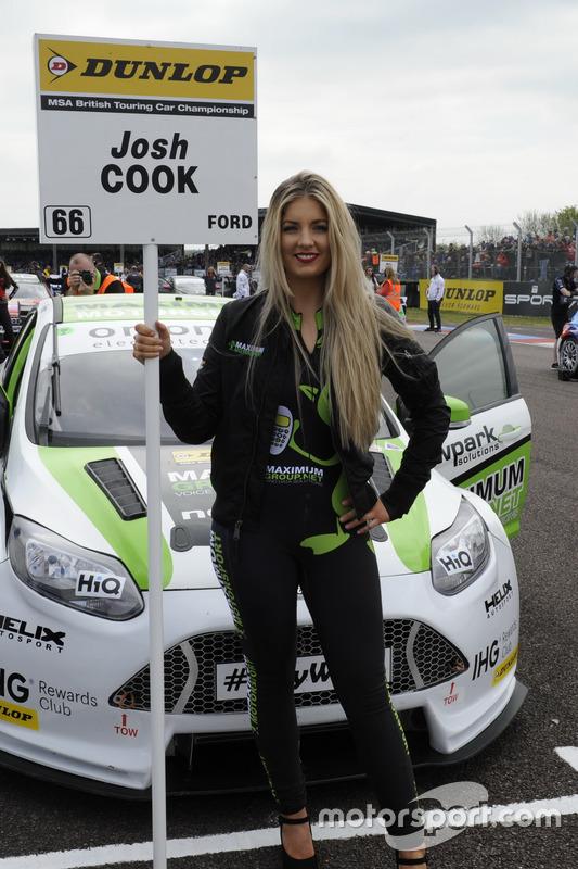 Grid girl, Josh Cook, Team Parker Racing Ford Focus