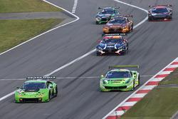 #19 GRT Grasser Racing Team Lamborghini Huracan GT3: Andrea Caldarelli, Ezequiel Perez Companc, #333 Rinaldi Racing Ferrari 458 Italia: Alexander Mattschull, Daniel Keilwitz