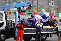 The car of Carlos Sainz Jr., Scuderia Toro Rosso STR12 after his crash