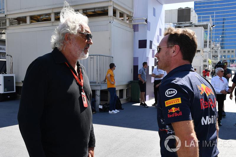 Flavio Briatore, mit Christian Horner, Red-Bull-Teamchef