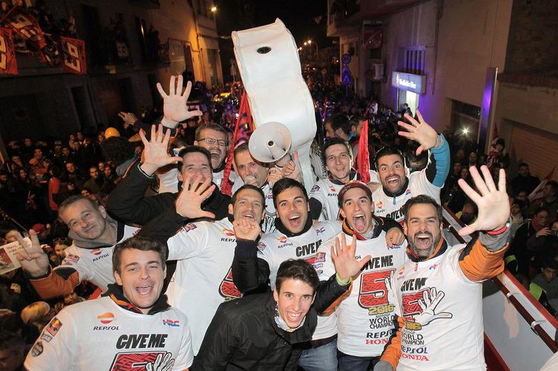 Marc Marquez, Repsol Honda Team celebrates his World Champion title at Cervera in Spain