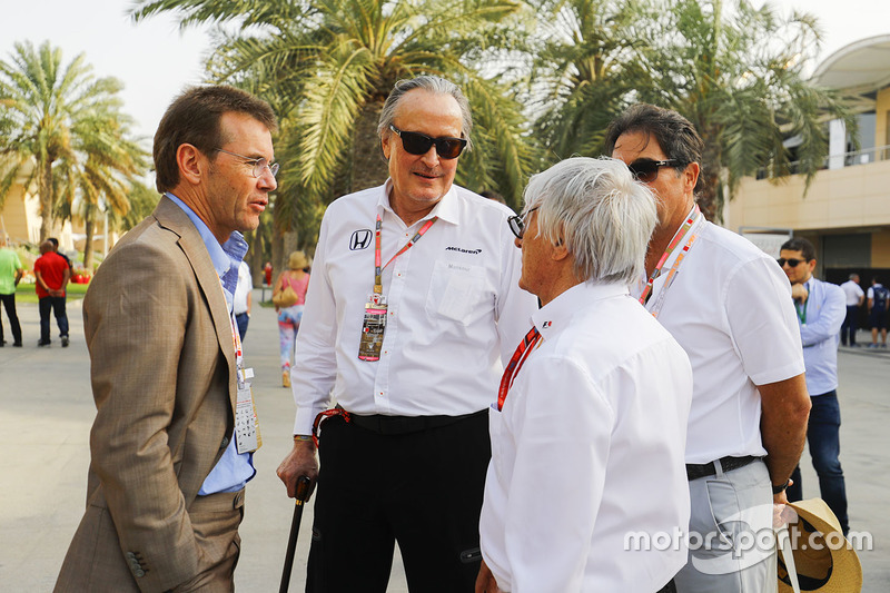 Mansoir Ojjeh, CEO, TAG, Bernie Ecclestone, Chairman Emiritus of Formula 1, and guests