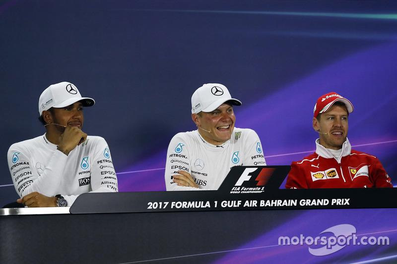 Press conference with polesitter Valtteri Bottas, Mercedes AMG, second place Lewis Hamilton, Mercede