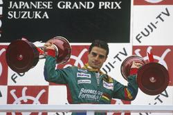 Podium: winner Alessandro Nannini, Benetton