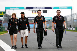 Sergio Perez, Sahara Force India F1 walks the circuit with Bernadette Collins, Sahara Force India F1 Team Performance and Strategy Engineer and Tim Wright, Sahara Force India F1 Team Race Engineer