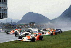 Start crash, with Andrea de Cesaris, McLaren M29F-Ford Cosworth; Hector Rebaque, Brabham BT49C-Ford Cosworth; Mario Andretti, Alfa Romeo 179C; Rene Arnoux, Renault RE20; John Watson, McLaren M29F-Ford Cosworth; Chico Serra, Fittipaldi F8C-Ford Cosworth; Ricardo Zunino, Tyrrell 010-Ford Cosworth; Siegfried Stohr, Arrows A3-Ford Cosworth and Jean-Pierre Jarier, Ligier JS17-Matra