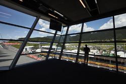 A spectator views the circuit from the media centre