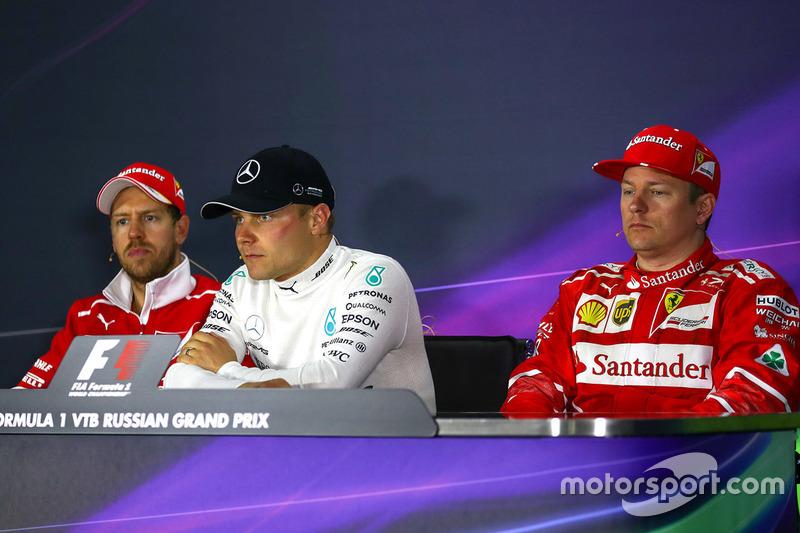 Race winner Valtteri Bottas, Mercedes AMG F1, second place Sebastian Vettel, Ferrari, third place kimi Raikkonen, Ferrari