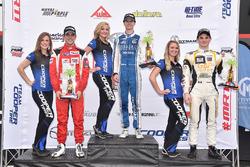 Podium: race winner Colton Herta, Andretti Steinbrenner Racing, second place Santiago Urrutia, Belardi Auto Racing, third place Patricio O'Ward, Team Pelfrey