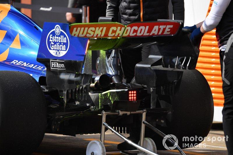 McLaren MCL34 alerón trasero y parafina aerodinámica
