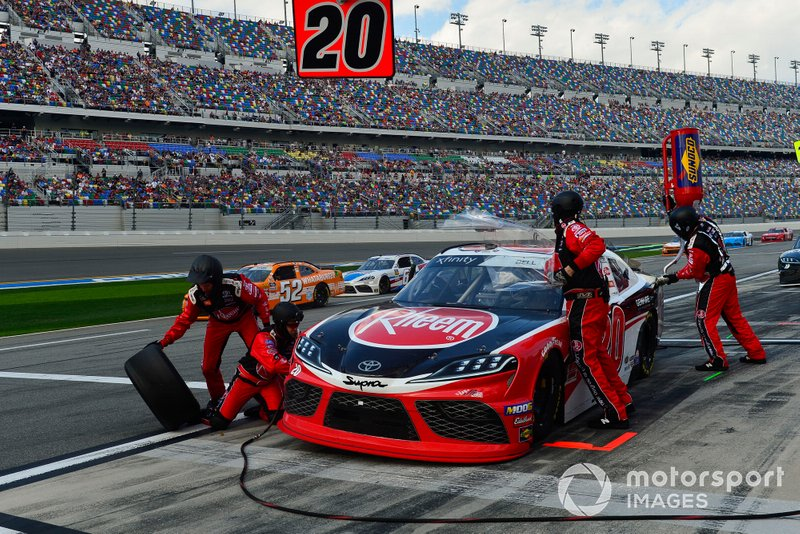 Christopher Bell, Joe Gibbs Racing, Toyota Supra Rheem makes a pit stop, Sunoco