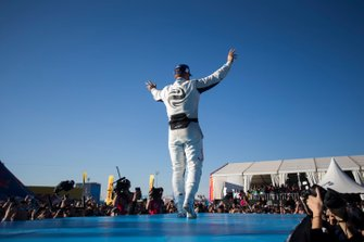 Sam Bird, Envision Virgin Racing, 3rd position, celebrates on the podium