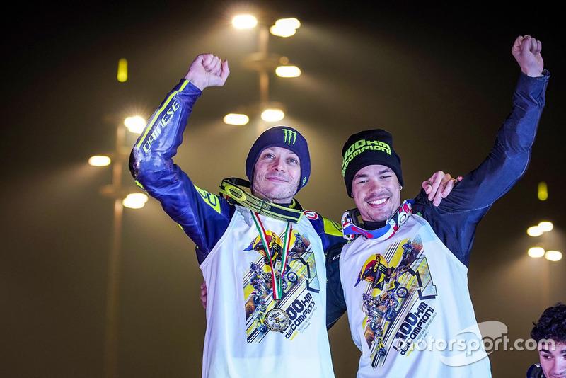 Valentino Rossi and Franco Morbidelli celebrate their victory