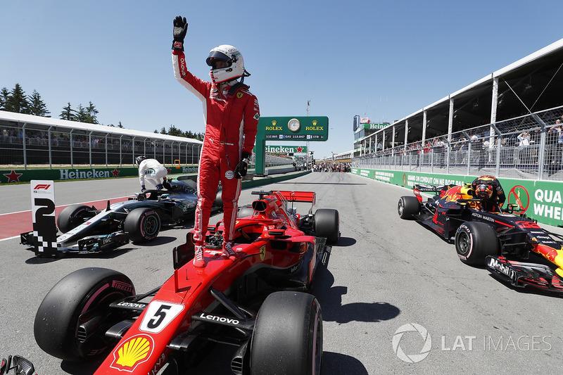 Pole sitter Sebastian Vettel, Ferrari SF71H celebrates in parc ferme