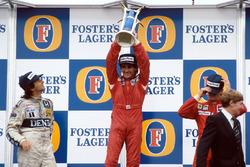 Podium: 1. und Weltmeister Alain Prost, McLaren; 2. Nelson Piquet, Williams; 3. Stefan Johansson, Ferrari