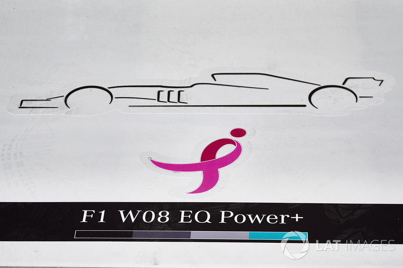 Лого рожевої стрічки на підлозі гаража Mercedes AMG F1