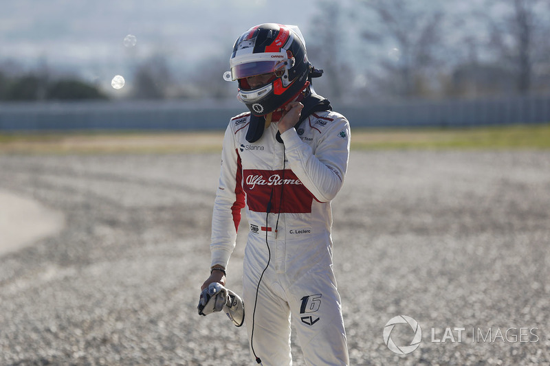 После аварии: Шарль Леклер, Alfa Romeo Sauber