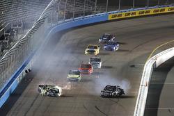 Crash: Noah Gragson, Kyle Busch Motorsports Toyota, Justin Haley, GMS Racing Chevrolet
