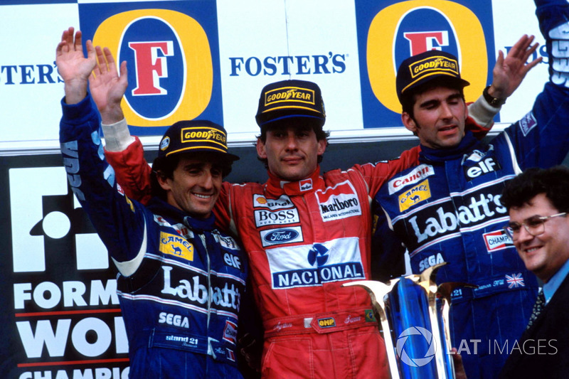 1993 (Аделаїда). Подіум: 1. Айртон Сенна, McLaren Ford Cosworth. 2. Ален Прост, Williams Renault. 3. Деймон Хілл, Williams Renault