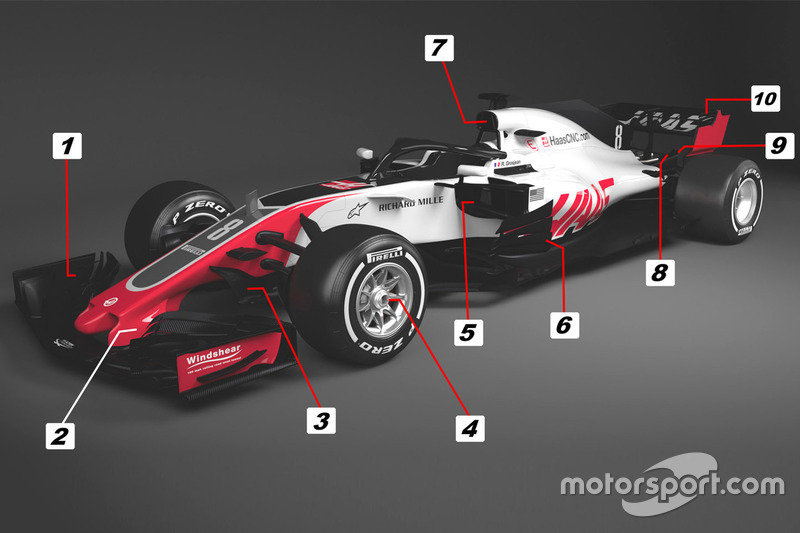 Detalles del Haas F1 Team VF-18