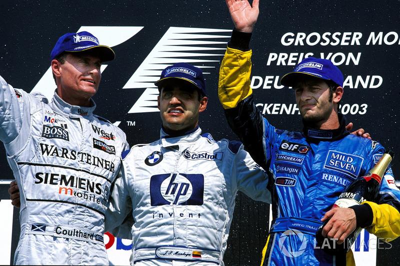 2003: 1. Juan Pablo Montoya, 2. David Coulthard, 3. Jarno Trulli