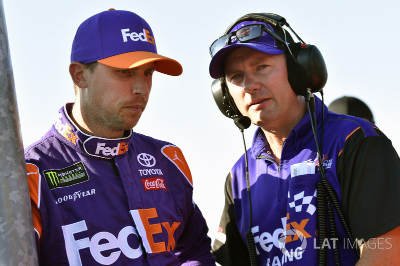 Denny Hamlin, Joe Gibbs Racing, Toyota Camry FedEx Ground e Michael Wheeler