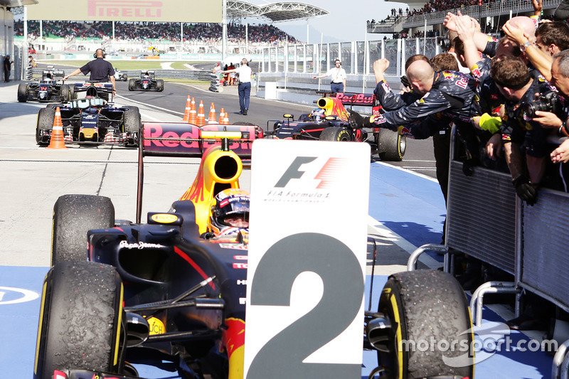 Second placed Max Verstappen, Red Bull Racing in parc ferme as race winner and team mate Daniel Ricciardo, Red Bull Racing RB12 arrives
