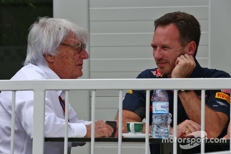 Bernie Ecclestone, con Christian Horner, jefe de equipo de carreras de Toro rojo