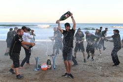 Jean-Eric Vergne, Techeetah, sprays the champagne on the beach