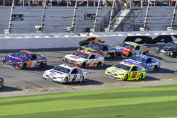 Denny Hamlin, Joe Gibbs Racing Toyota and Brad Keselowski, Team Penske Ford Fusion and Ryan Blaney,
