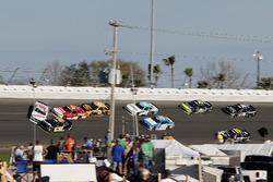 Crash, Cole Custer, Stewart-Haas Racing with Biagi-Denbeste Racing Ford Mustang, Jeff Green, RSS Racing Chevrolet Camaro