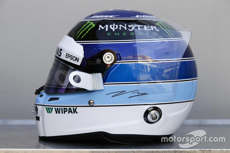 Особая расцветка шлема пилота Mercedes AMG F1 Валттери Боттаса к Гран При Монако