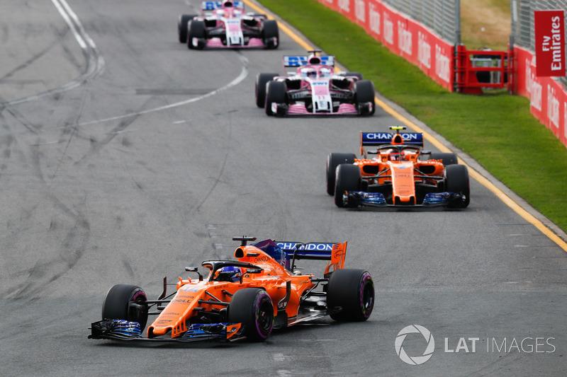 Fernando Alonso, McLaren MCL33 Renault, Stoffel Vandoorne, McLaren MCL33 Renault, Sergio Perez, Force India VJM11 Mercedes, Esteban Ocon, Force India VJM11 Mercedes