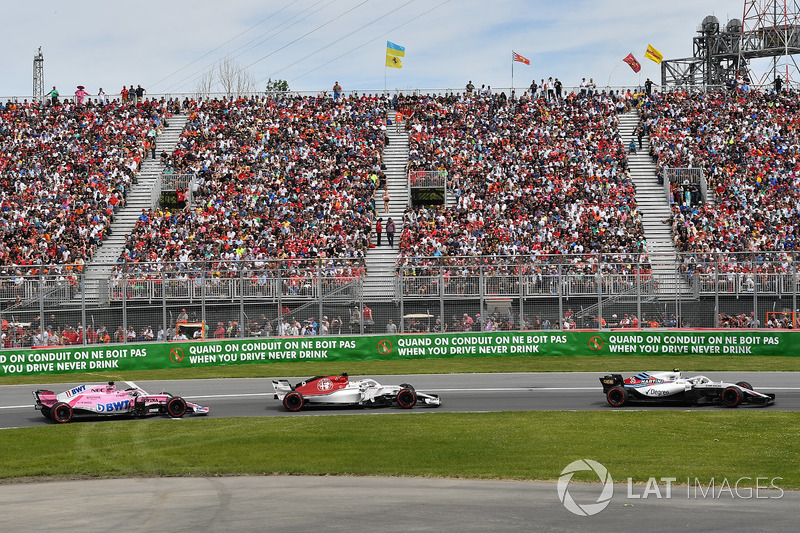 Sergey Sirotkin, Williams FW41, Marcus Ericsson, Sauber C37 and Sergio Perez, Force India VJM11
