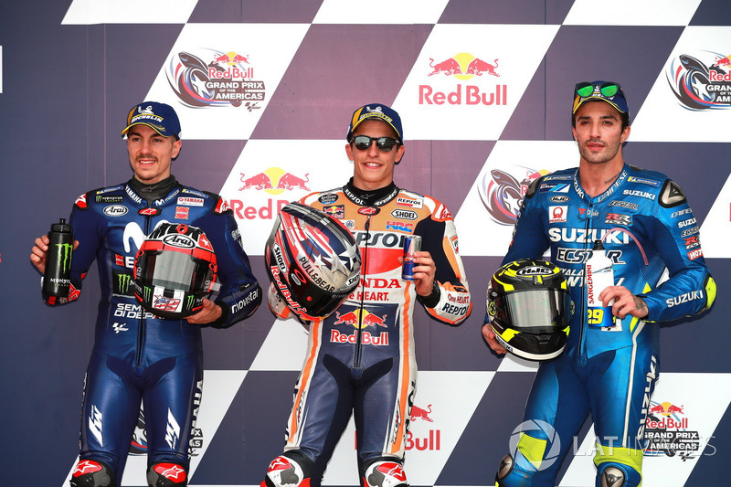 Top3 after qualifying: Maverick Viñales, Yamaha Factory Racing, Marc Marquez, Repsol Honda Team, Andrea Iannone, Team Suzuki MotoGP