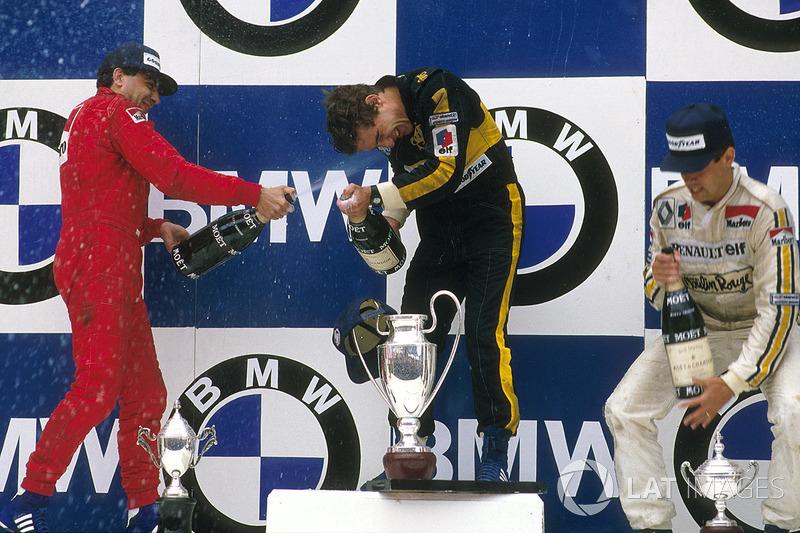 Yarış galibi Ayrton Senna, Lotus, 2. Michele Alboreto, Ferrari, 3. Patrick Tambay, Renault