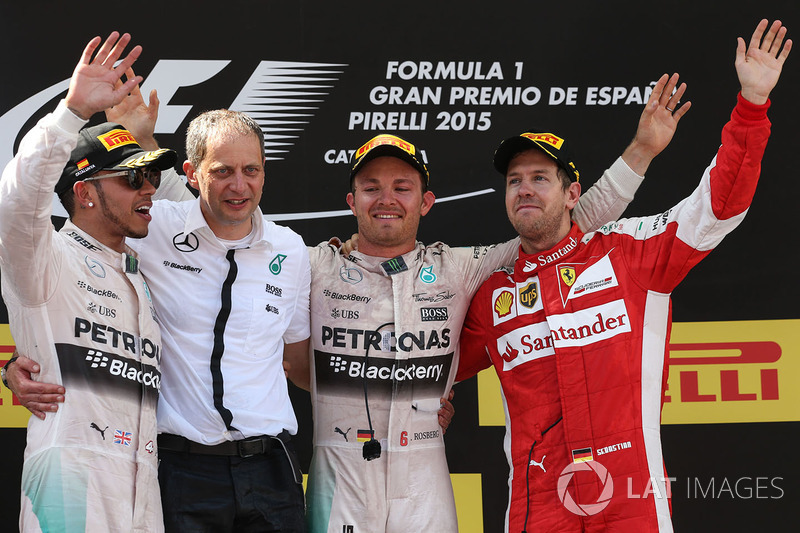 Podium: 1. Nico Rosberg, Mercedes AMG; 2. Lewis Hamilton, Mercedes; 3. Sebastian Vettel, Ferrari