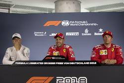 Valtteri Bottas, Mercedes-AMG F1, Sebastian Vettel, Ferrari and Kimi Raikkonen, Ferrari in Press Conference