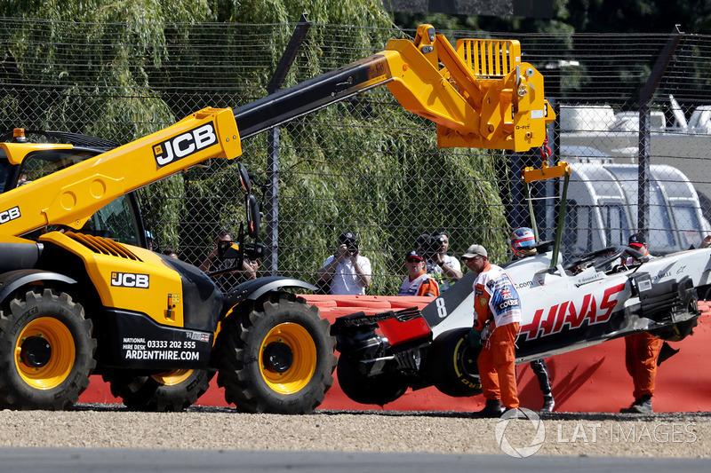La voiture de Romain Grosjean, Haas VF-18 après son accident