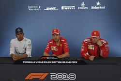 Lewis Hamilton, Mercedes-AMG F1, Sebastian Vettel, Ferrari, Kimi Raikkonen, Ferrari in the Press Conference