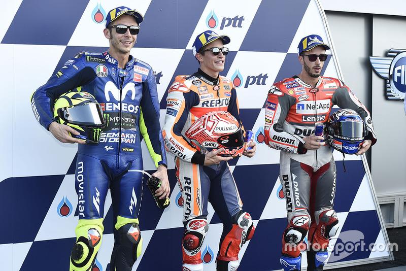 Polesitter Marc Marquez, Repsol Honda Team, Valentino Rossi, Yamaha Factory Racing, Andrea Dovizioso, Ducati Team