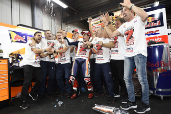 Champion Marc Marquez, Repsol Honda Team celebrates with his team
