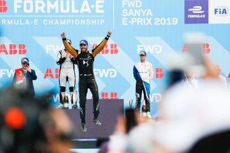 Jean-Eric Vergne, DS TECHEETAH, jumps in celebration on the podium