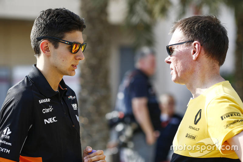 Esteban Ocon, Force India, talks with Alan Permane, Trackside Operations Director, Renault Sport F1