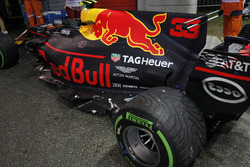 The damaged car of Max Verstappen, Red Bull Racing RB13 after crashing out at the start of the race