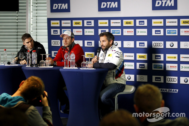 Press Conference, Edoardo Mortara, Mercedes-AMG Team HWA, Mercedes-AMG C63 DTM, Mike Rockenfeller, Audi Sport Team Phoenix, Audi RS 5 DTM, Timo Glock, BMW Team RMG, BMW M4 DTM
